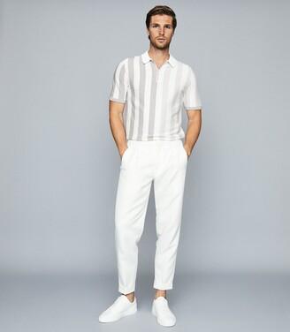 Reiss Marino - Striped Zip Neck Polo Shirt in Ecru