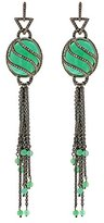 Jade Jagger Women's 925 Sterling Silver Black Rhodium Plated Chrysophrase Cabochon and White Diamonds Water Earrings