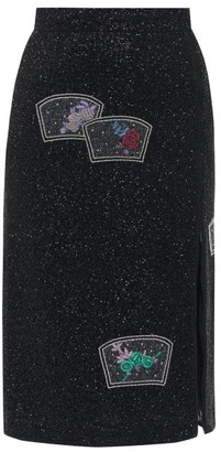 Ganni Side-zip Beaded Pencil Skirt - Womens - Black
