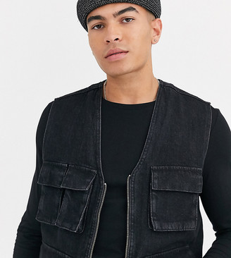 ASOS DESIGN Tall utility gilet in washed black