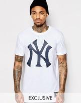 Majestic Longline Yankees T-shirt With Large Logo - White