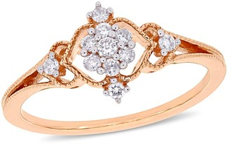 Miadora 10k Rose Gold 1/6ct TDW Diamond Floral Cluster Vintage Ring