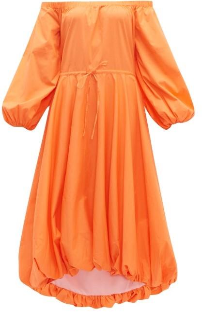 STAUD Puffball Stretch-cotton Poplin Bardot Dress - Orange