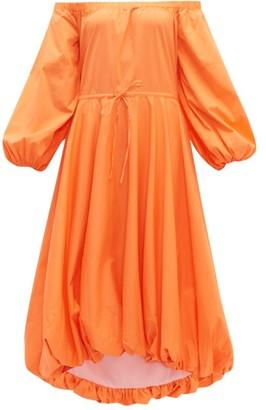 STAUD Puffball Stretch-cotton Poplin Bardot Dress - Womens - Orange
