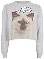 Topshop Freaking Meow Crop Sweatshirt by Tee & Cake