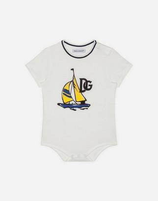 Dolce & Gabbana Jersey Bodysuit With Sailboat Print