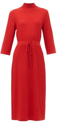 A.P.C. Vivianne Drawstring-waist Merino Wool Dress - Red