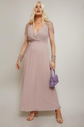 Little Mistress Bridesmaid Viola Mink Embellished Pleated Midaxi Dress