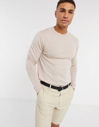 ASOS DESIGN muscle fit merino wool crew neck sweater in oatmeal marl