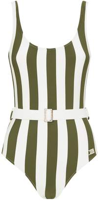 Solid & Striped Anne-Marie Belted Stripe Swimsuit