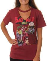 Asstd National Brand DC Comics Juniors' Batman and Robin Comic Book Panels Cutout V-Neck Short Sleeve Graphic T-Shirt