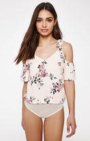 KENDALL + KYLIE Kendall & Kylie Flutter Floral Cold Shoulder Bodysuit