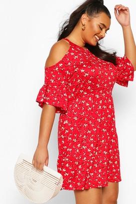 boohoo Plus Open Shoulder Ruffle Smock Dress