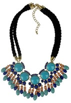 """Rope Bib Necklace with Stones and Beads Turquoise - 18"""""""