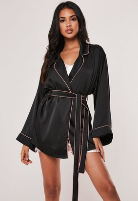 Missguided Black Kimono Piping Detail Dressing Gown