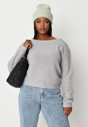Missguided Plus Size Grey Waffle Knit Off The Shoulder Jumper
