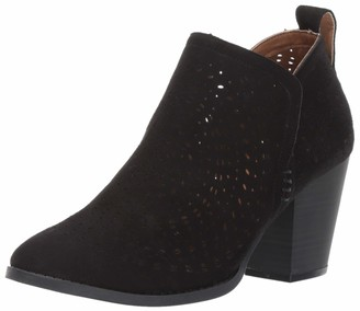 Sugar Women's Racer Laser Cutout Pull-On Block Heel Ankle Bootie Boot