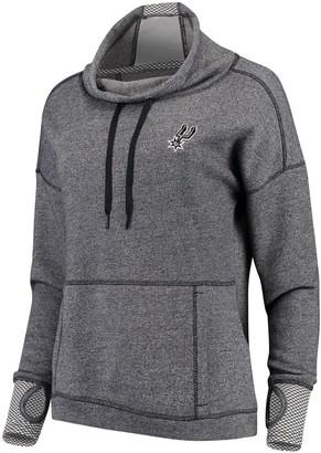 Antigua Women's Heathered Black San Antonio Spurs Snap Cowl Neck Pullover Sweatshirt