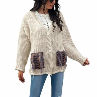 Koitniecer Women Open Front Pocket Cardigan Sweater Long Sleeve Knit Shirts V Neck Button Down Sweater Coat Outwear (Beige S)