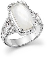 Judith Ripka Sterling Silver 3-Stone Harmony Ring with Mother-of-Pearl and Rock Crystal Quartz Doublet