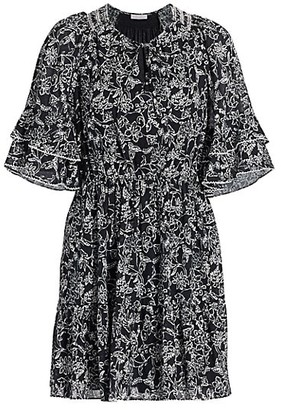 Parker Lindsay Flutter-Sleeve Dress