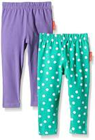 Toby Tiger Girl's Organic Cotton with Elastine Green and White Dot Two Leggings,pack of 2