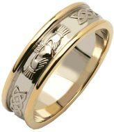 Fado Ladies Two Tone Claddagh Celtic Wedding Band Silver/14k Size 5