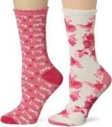 Betsey Johnson Women's 2-Pack Punk Rock Love Crew Gift Box Socks