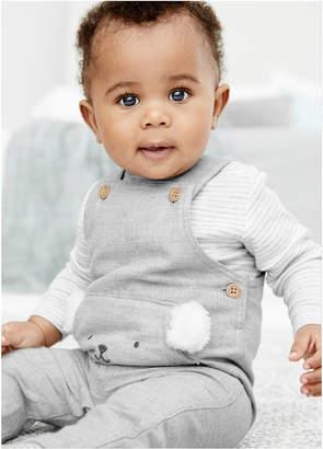 Carter's Carter Baby Boys 2-Pc. Bear Overalls & Striped T-Shirt Set
