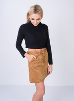 Missy Empire SP Tan Suede Lace Up Mini Skirt