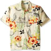 Cubavera Cuba Vera Men's Short Sleeve Retro Leaf Print Woven Shirt