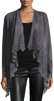 Alberto Makali Laser-Cut Faux-Suede Fringed Cardigan, Charcoal