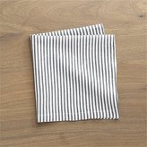 Crate & Barrel Liam Grey Striped Linen Cloth Dinner Napkin