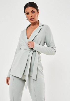 Missguided Blue Co Ord Belted Blazer