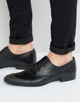 Asos Lace Up Shoes In Black Leather With Stud Detail