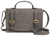 Merona Women's Solid Crossbody Faux Leather Handbag with Buckle Detailing