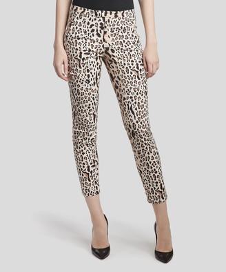 Stretch Cotton Garment Wash Slim Pants - Camel/ Black Leopard