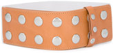 MM6 MAISON MARGIELA studded belt - women - Leather/Brass - One Size