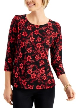 JM Collection Floral-Print 3/4-Sleeve Jacquard Top, Created for Macy's