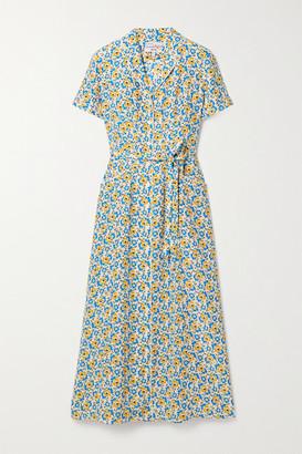 HVN Maria Belted Floral-print Silk Crepe De Chine Midi Dress - Blue