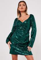 Missguided Green Sequin Wrap Side Sequin Dress