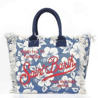MC2 Saint Barth Blue Ibiscus Print Canvas Bag