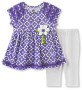 Kids Headquarters Baby Girls Two-Piece Printed Dress and Capri Pants Set