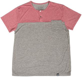 Couture Littlest Prince Men's Tee Shirts - Red & Ash Color Block Short-Sleeve Henley - Men