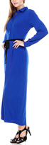 Stanzino Blue Button-Up Tie-Waist Maxi Dress