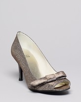 Stuart Weitzman Bowover Metallic Peep Toe Evening Pumps