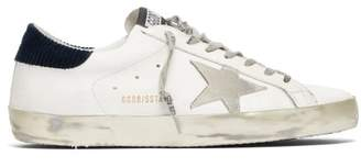 Golden Goose Superstar Leather And Corduroy Low Top Trainers - Mens - Blue White
