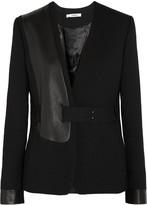 J Brand Odilie leather-paneled stretch-twill blazer