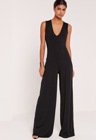Missguided Tall Exclusive Ribbed V Neck Wide Leg Romper Black