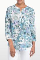 NYDJ Winter Frost Petals Print 3/4 Sleeve Blouse In Petite